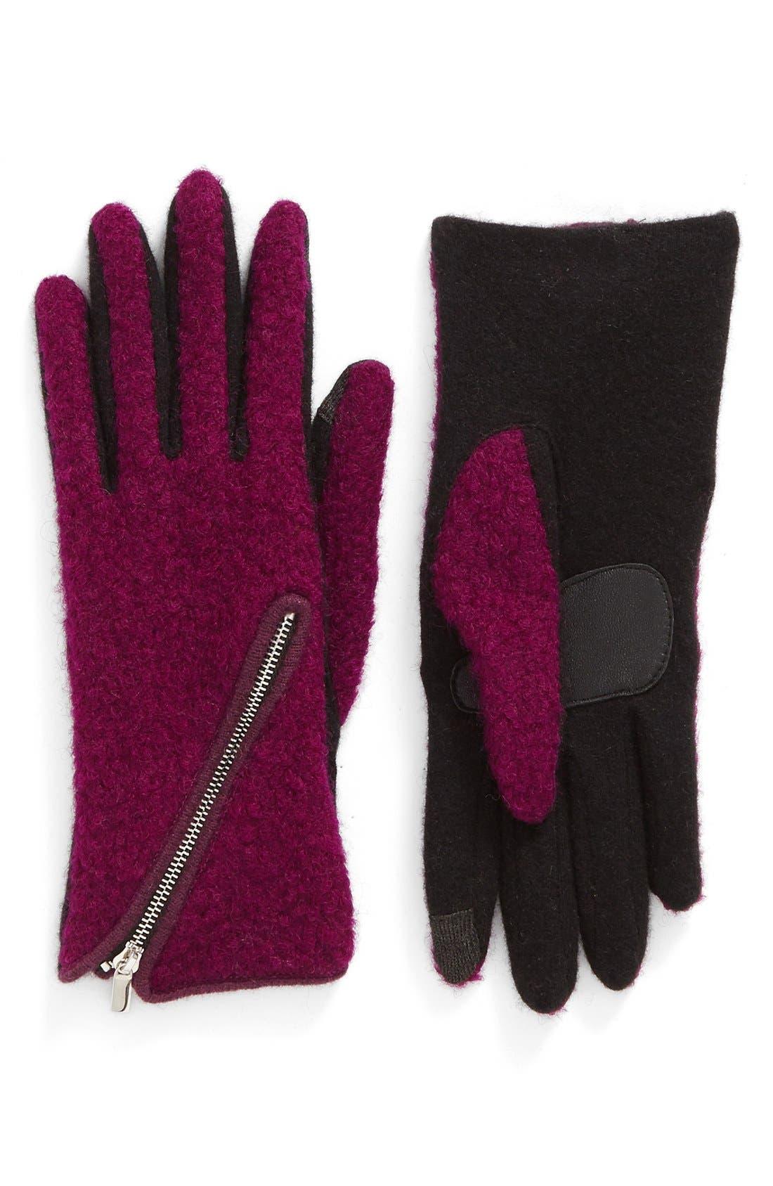 Alternate Image 1 Selected - Echo 'Touch - Zip Bouclé' Tech Gloves