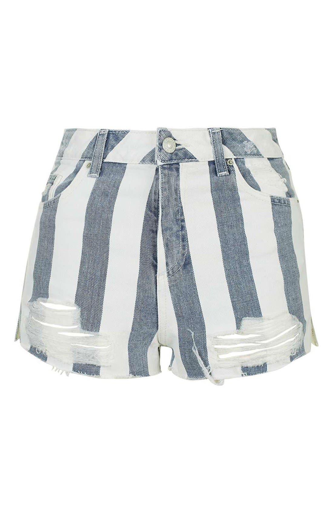 Alternate Image 4  - Topshop Stripe Distressed Denim Shorts