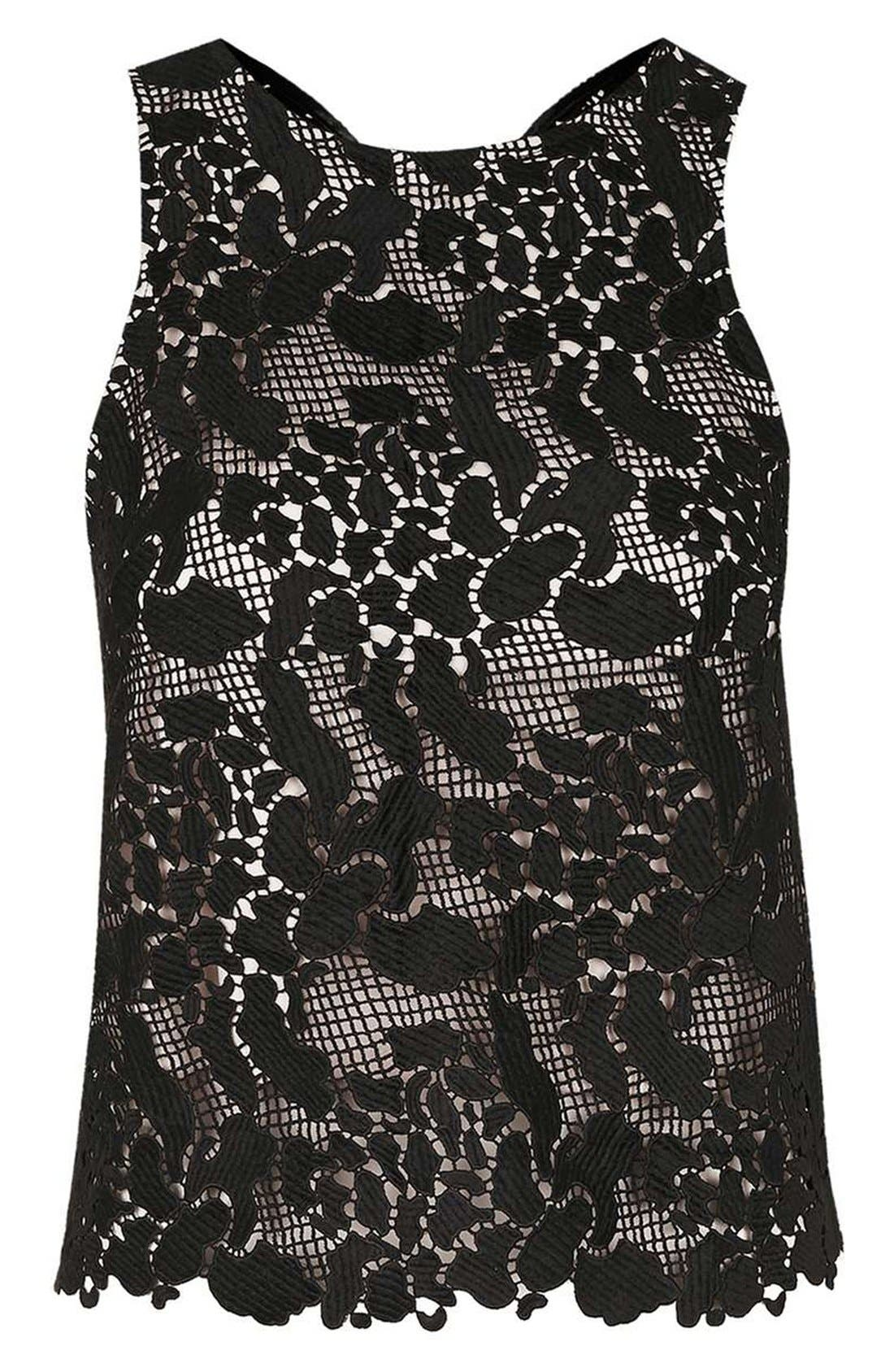 Alternate Image 4  - Topshop Animal Lace Cross Back Sleeveless Top