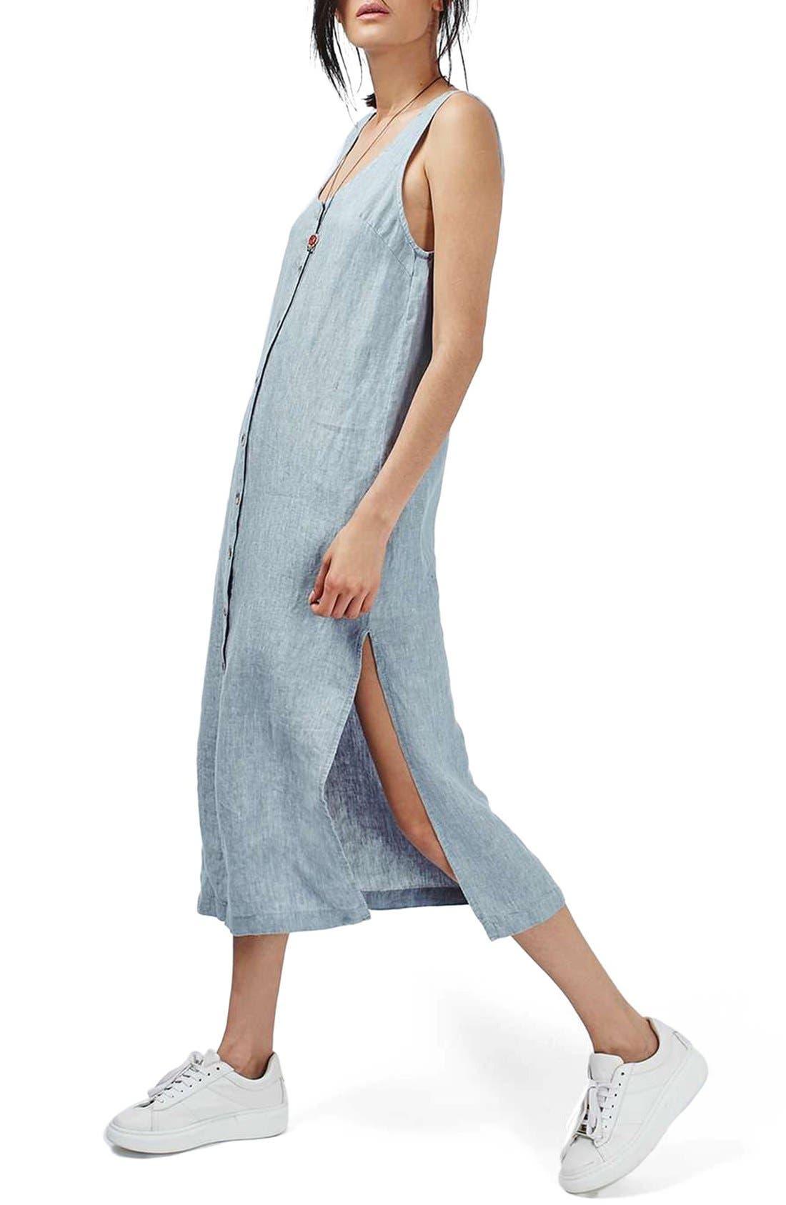 Main Image - Topshop Button Front Linen Maxi Dress