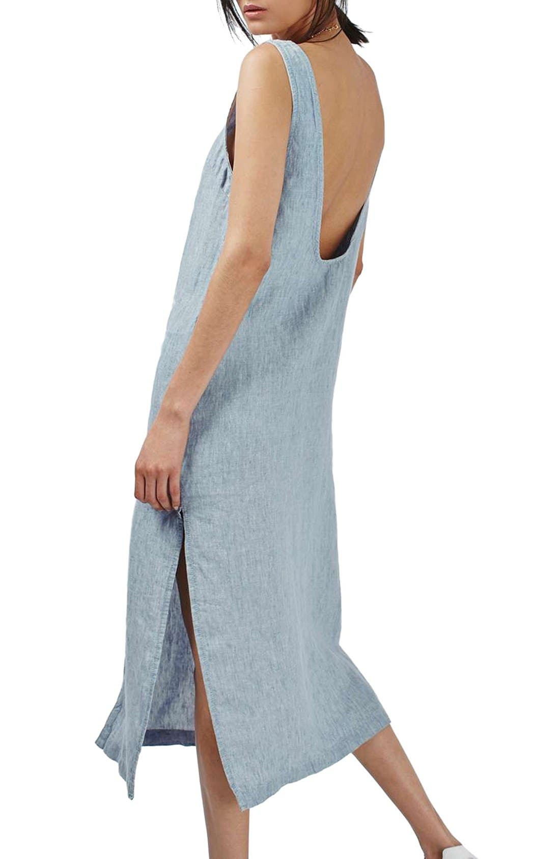Alternate Image 2  - Topshop Button Front Linen Maxi Dress