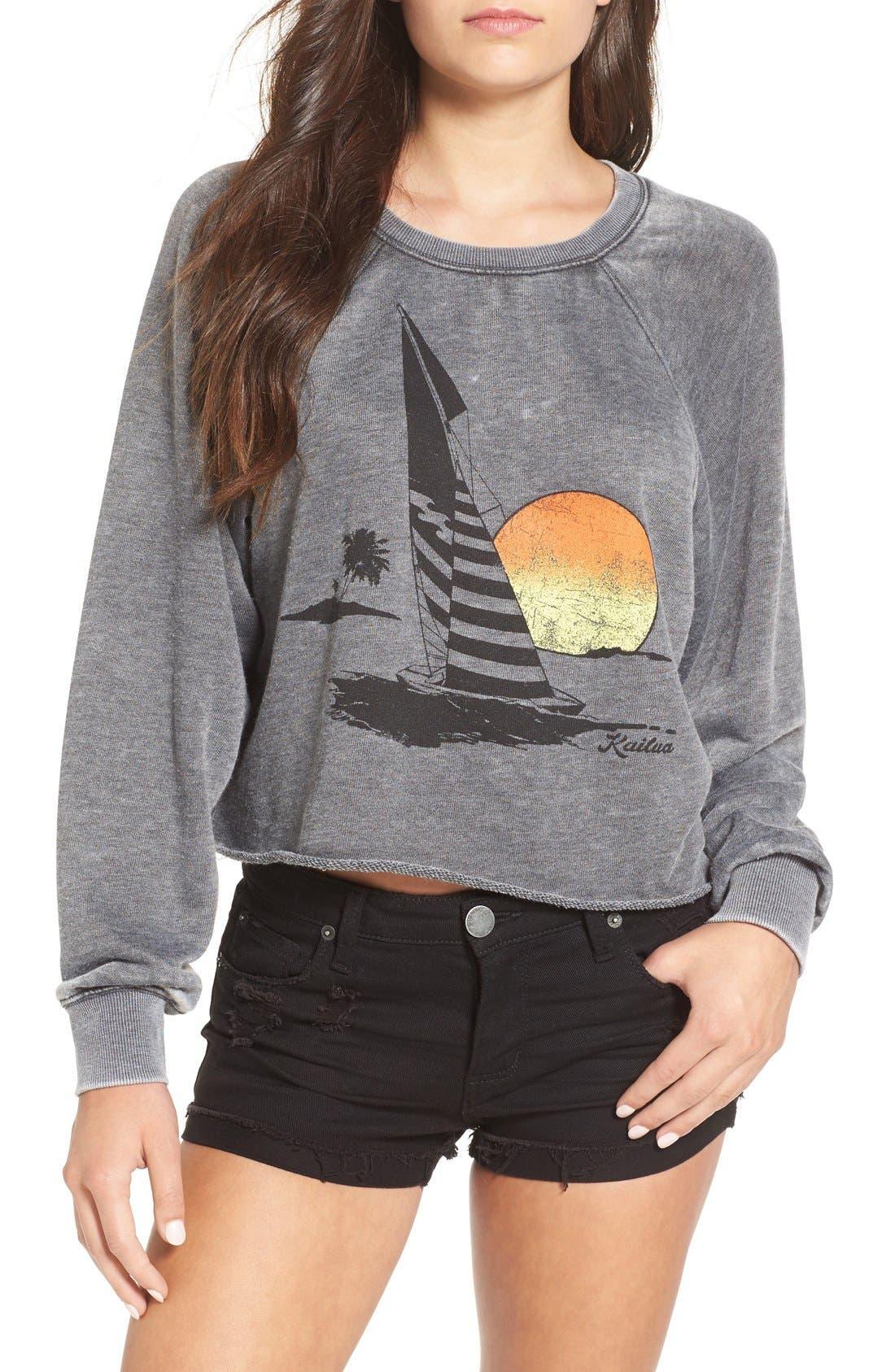 Alternate Image 1 Selected - Billabong 'Again & Again' Crop Sweatshirt