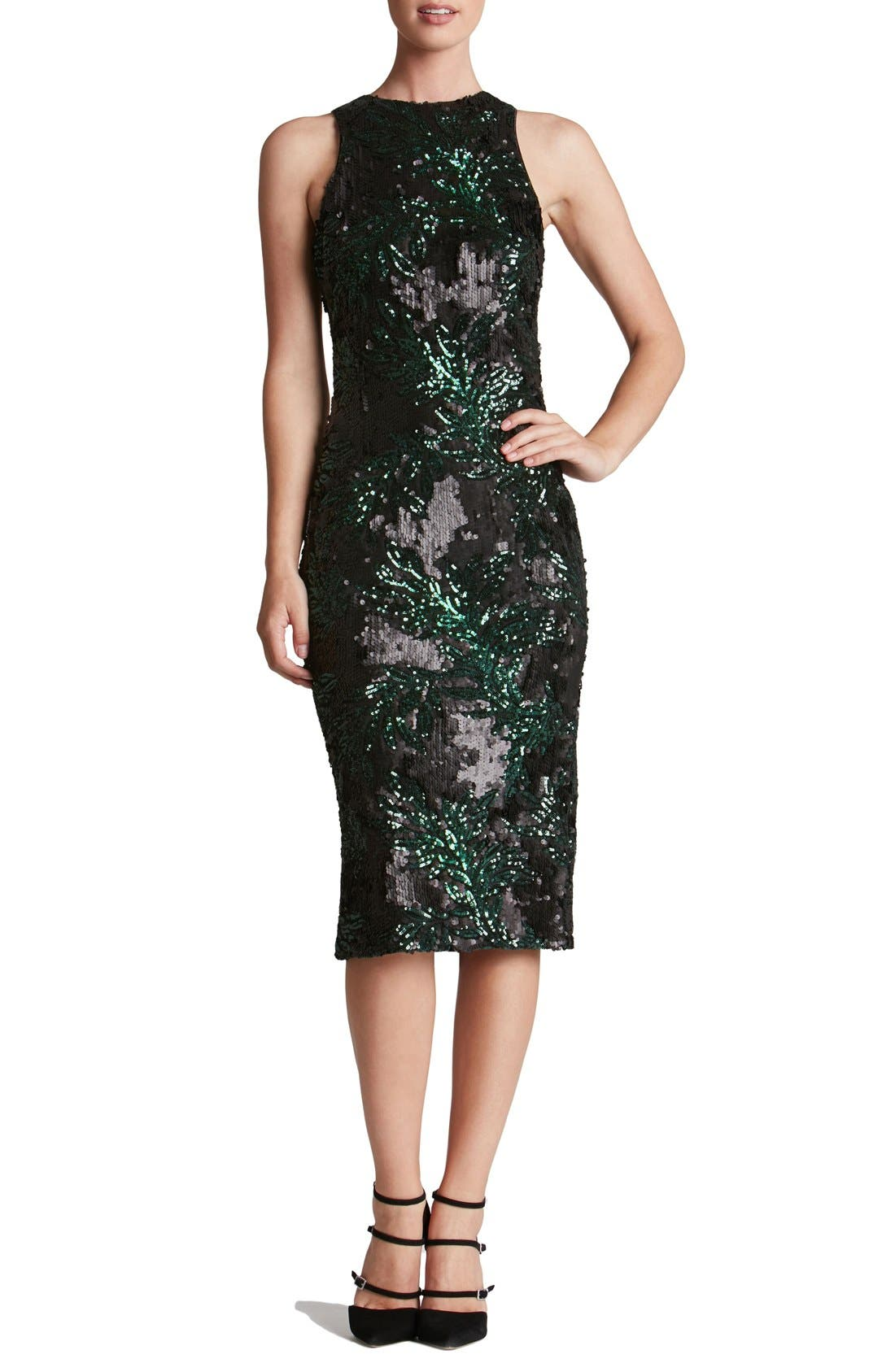 Alternate Image 1 Selected - Dress the Population 'Shawn' Sequin Midi Dress
