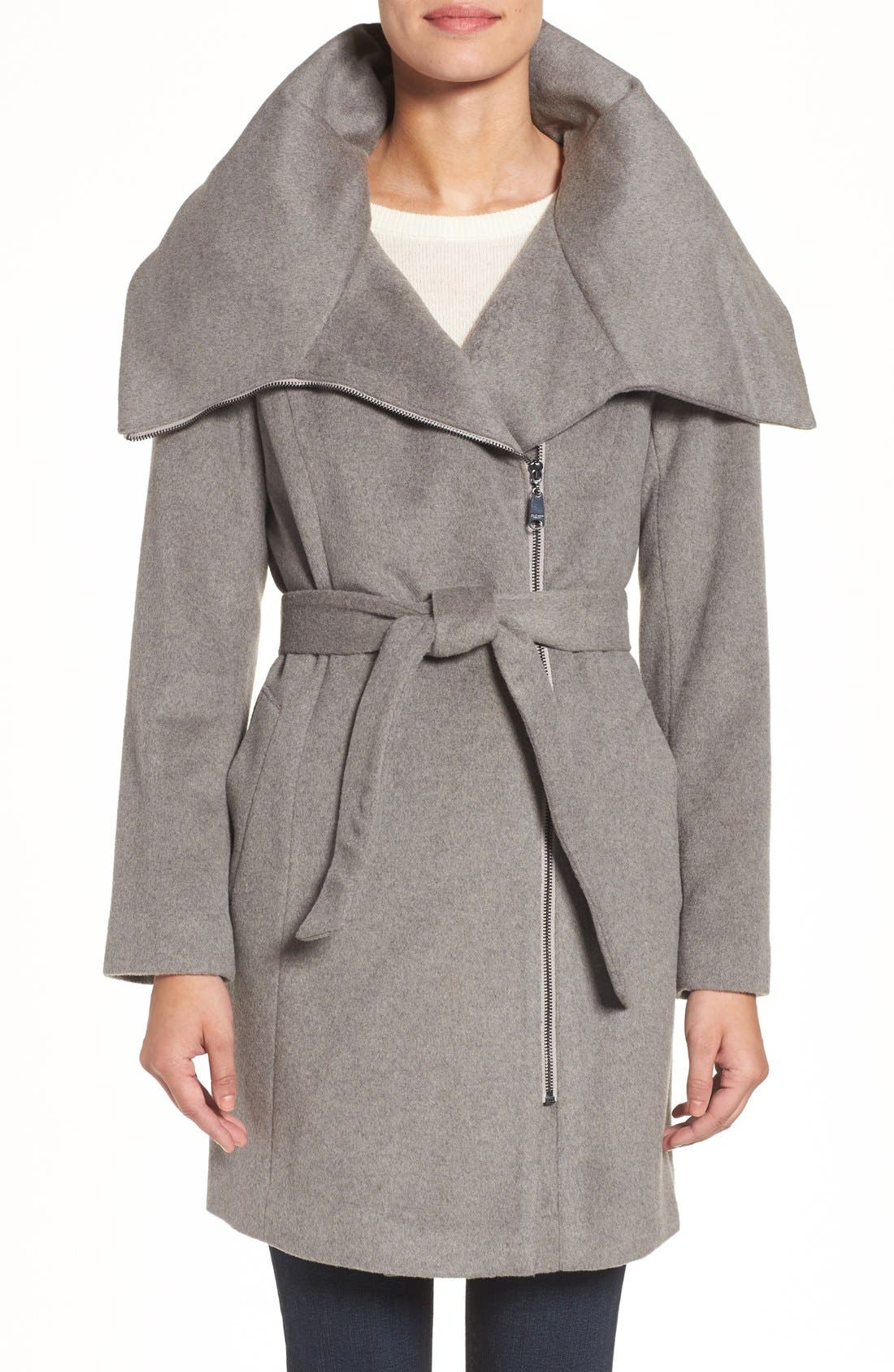 Main Image - Cole Haan Signature Belted Asymmetrical Wool Blend Coat
