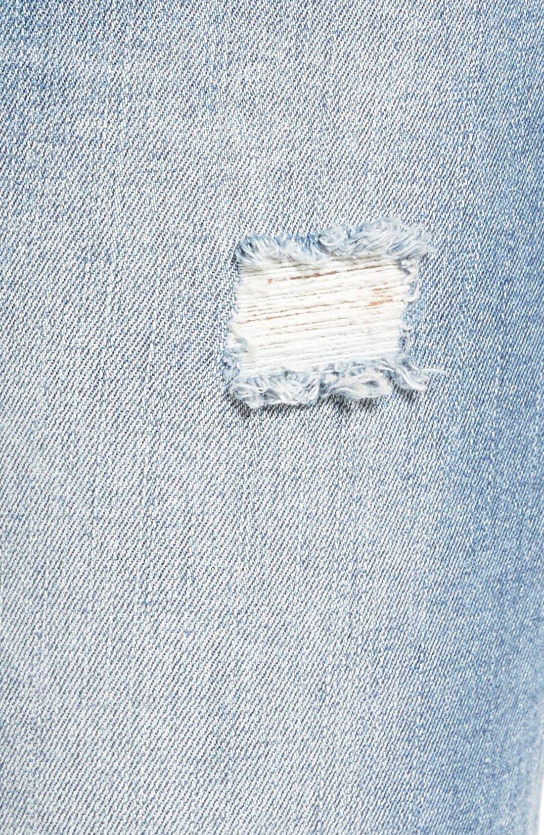 Alternate Image 5  - SP Black Distressed Cuffed Skinny Jeans