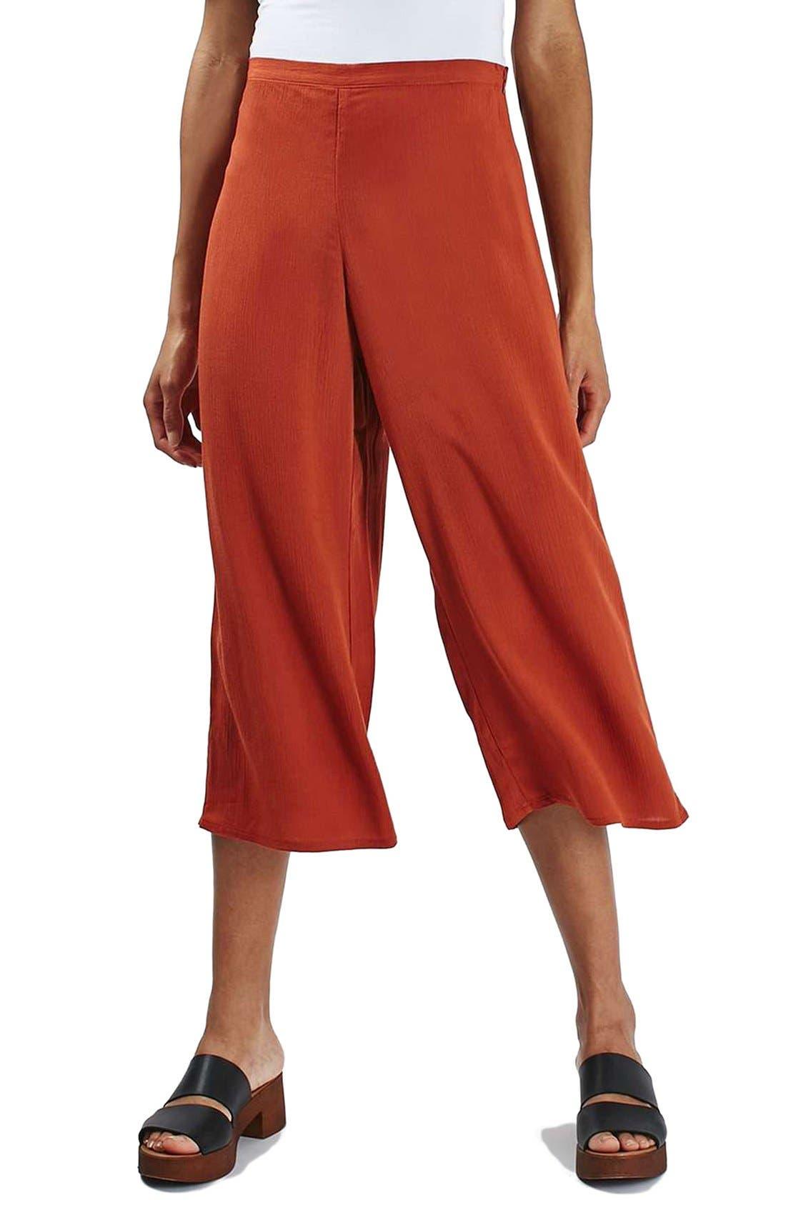 Main Image - Topshop Crinkled Crop Wide Leg Trousers