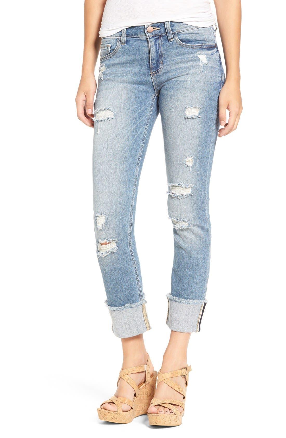 Main Image - SP Black Distressed Cuffed Skinny Jeans