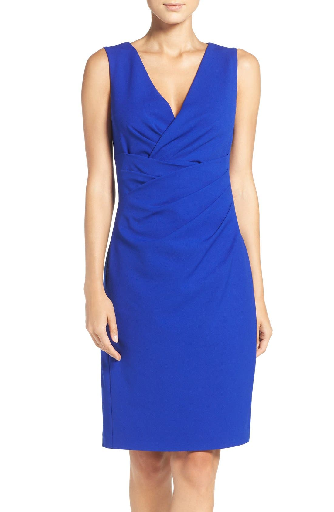 Alternate Image 1 Selected - Betsey Johnson Gathered Crepe Sheath Dress