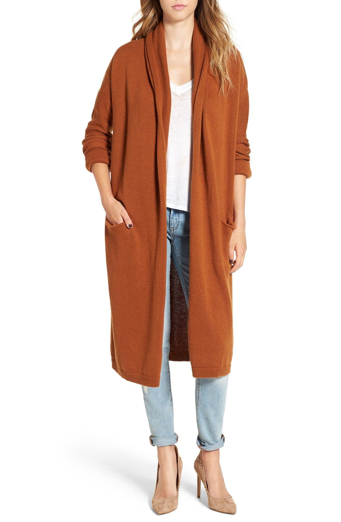 Alternate Image 1 Selected - Leith Easy Fit Long Cotton Blend Cardigan