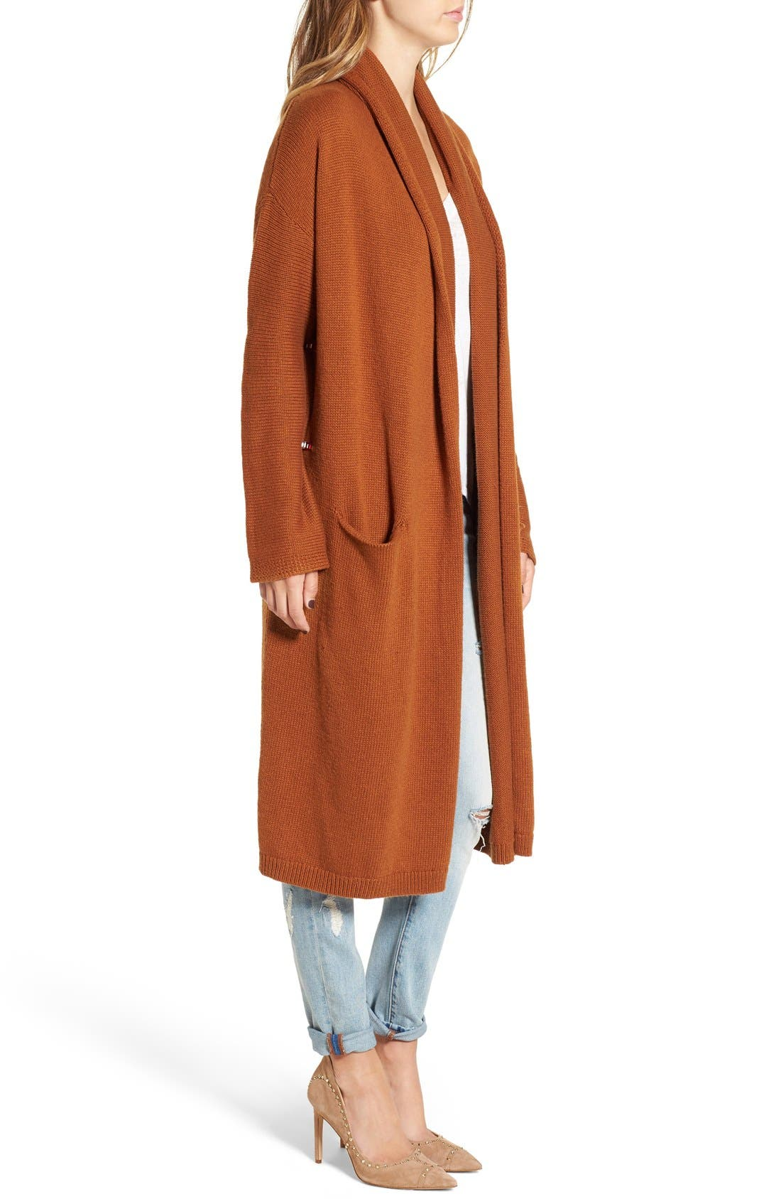Alternate Image 3  - Leith Easy Fit Long Cotton Blend Cardigan