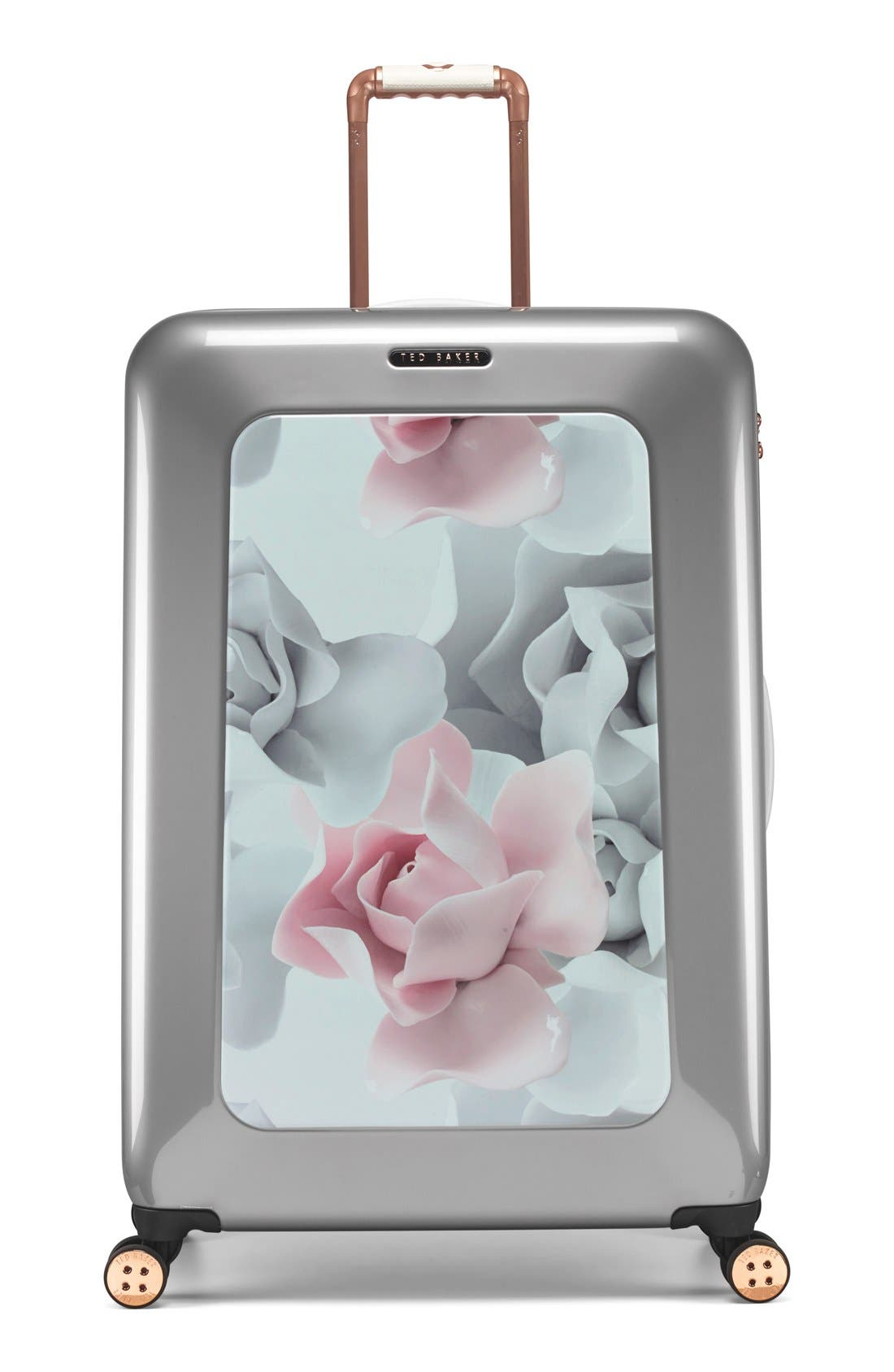 Main Image - Ted Baker London 'Large Porcelain Rose' Four Wheel Suitcase (31 Inch)
