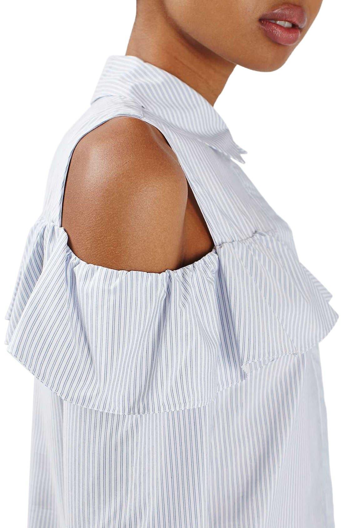 Alternate Image 5  - Topshop Stripe Ruffle Cold Shoulder Shirt