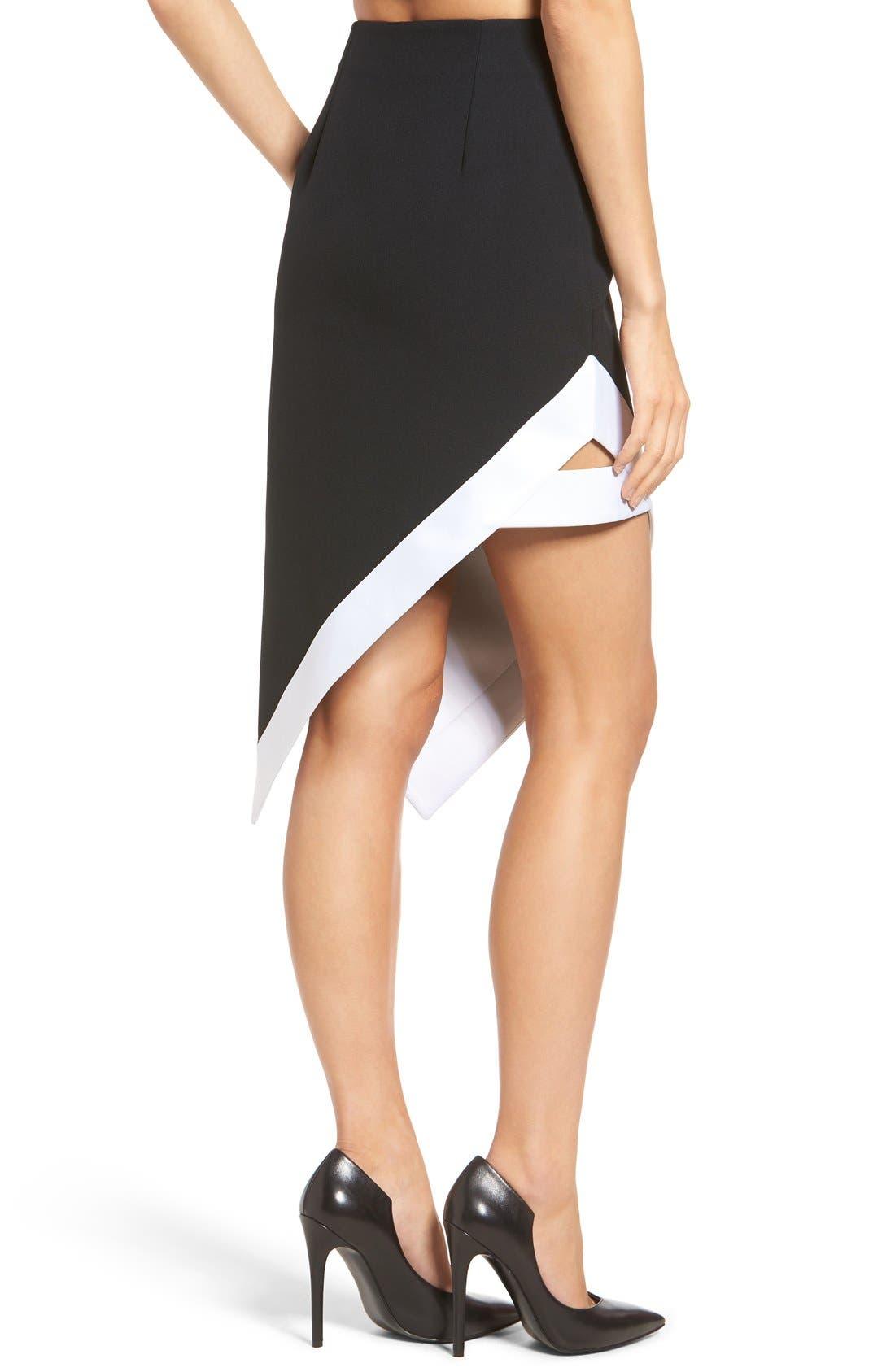 Alternate Image 2  - KENDALL + KYLIE Satin Trim Asymmetrical Skirt