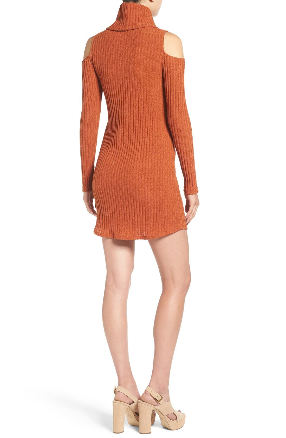 Alternate Image 3  - Socialite Cold Shoulder Rib Knit Dress