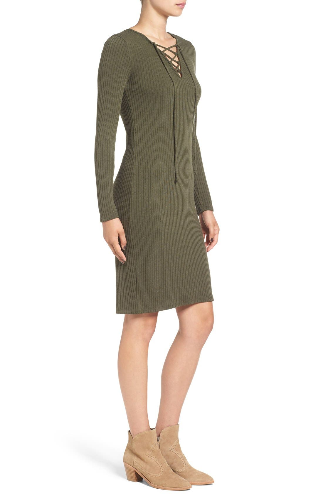 Alternate Image 4  - One Clothing Lace-Up Neck Ribbed Body-Con Dress
