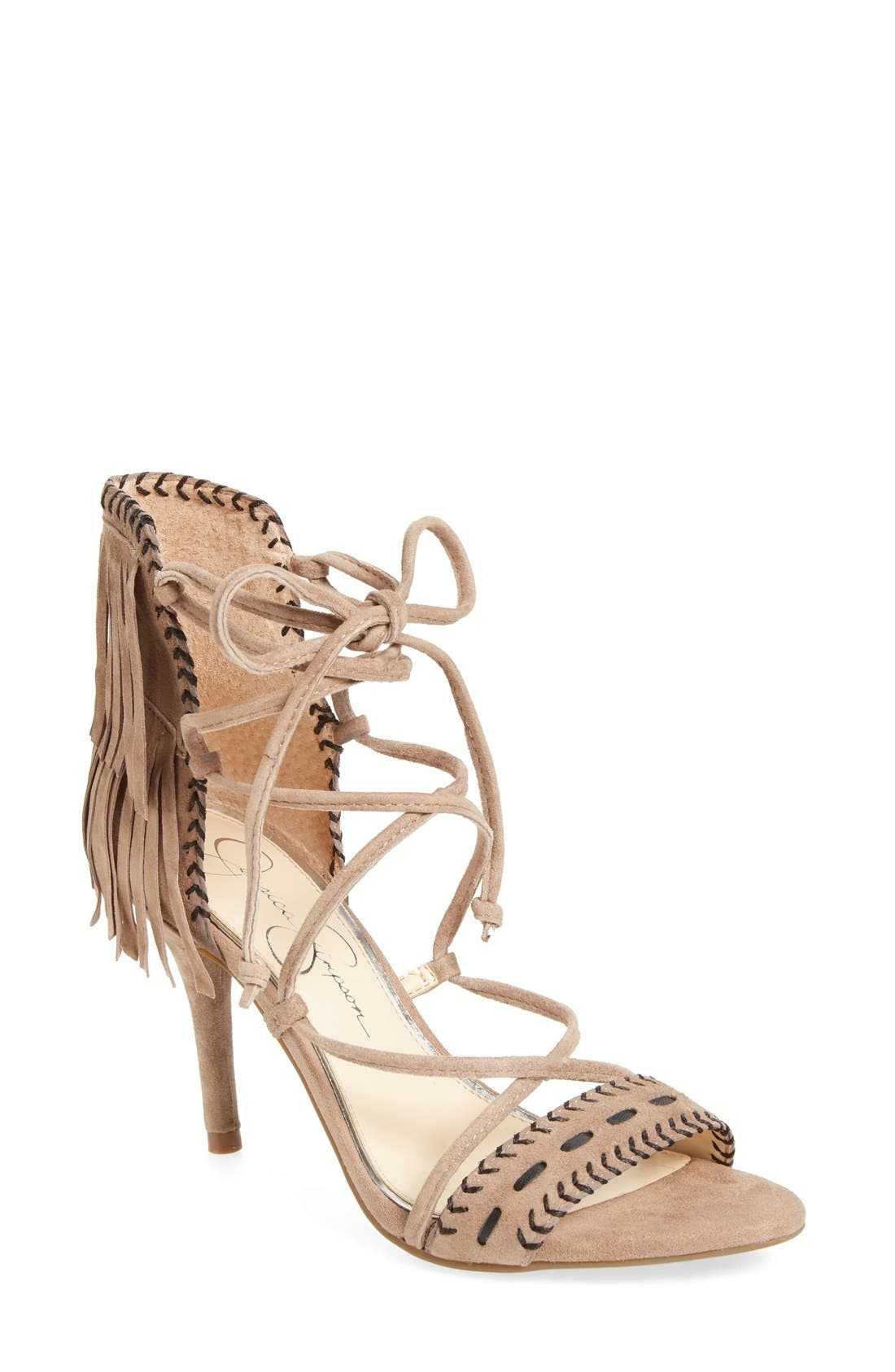 JESSICA SIMPSON 'Mareya' Fringe Ankle Tie Sandal