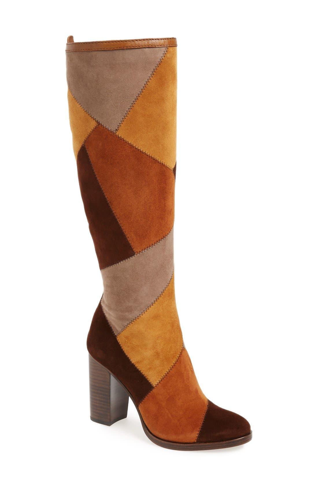 Main Image - Frye 'Claude' Knee High Patchwork Boot (Women)