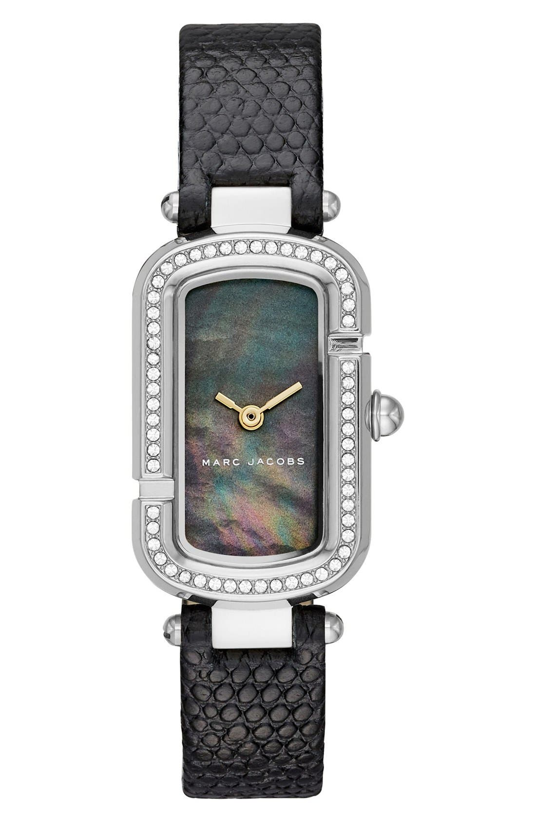 MARC JACOBS The Jacobs Glitz Leather Strap Watch,