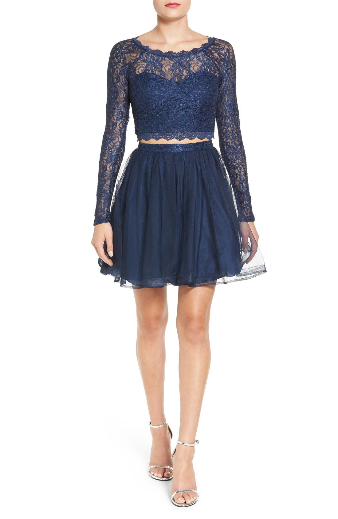 Main Image - Sequin Hearts Long Sleeve Lace Two-Piece Skater Dress