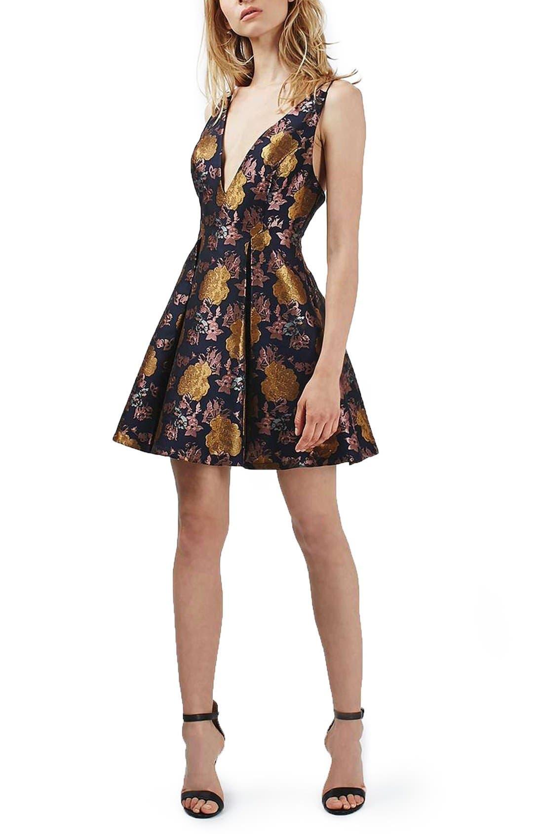 Main Image - Topshop Floral Jacquard Plunge Minidress