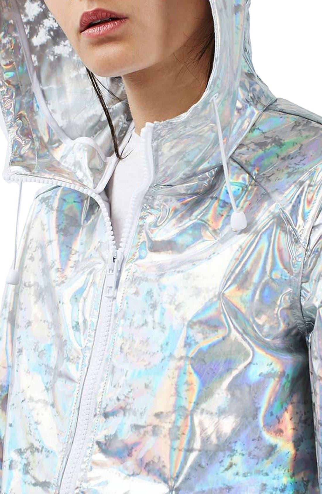 Alternate Image 4  - Topshop Holographic Rain Jacket (Regular & Petite)