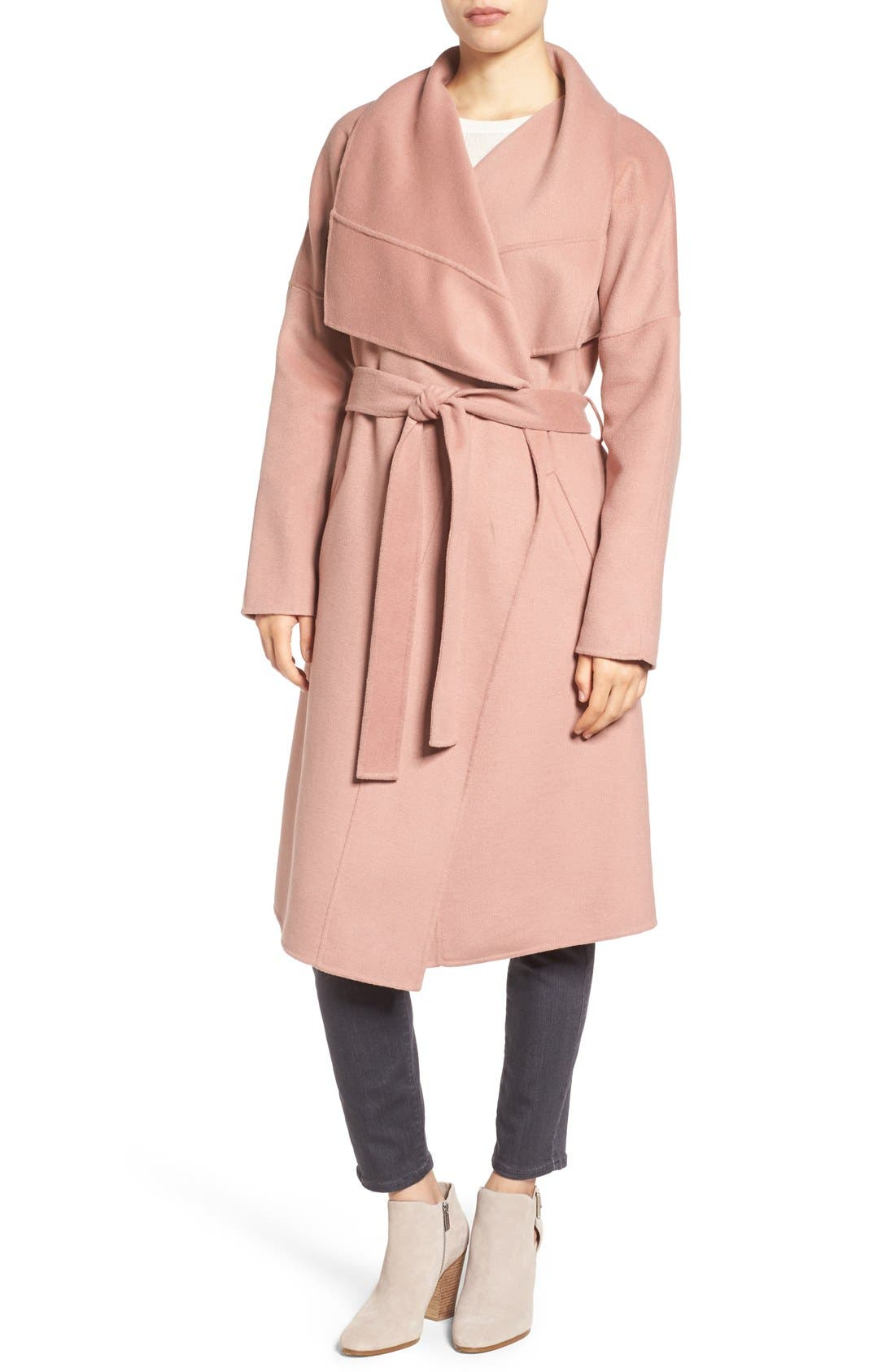 Badgley Mischka 'Lex' Double Face Wool Blend Wrap Coat