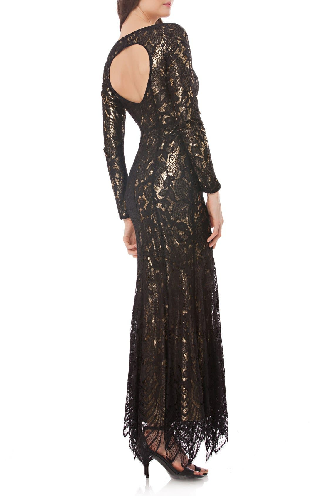 Alternate Image 2  - JS Collections Metallic Mermaid Gown