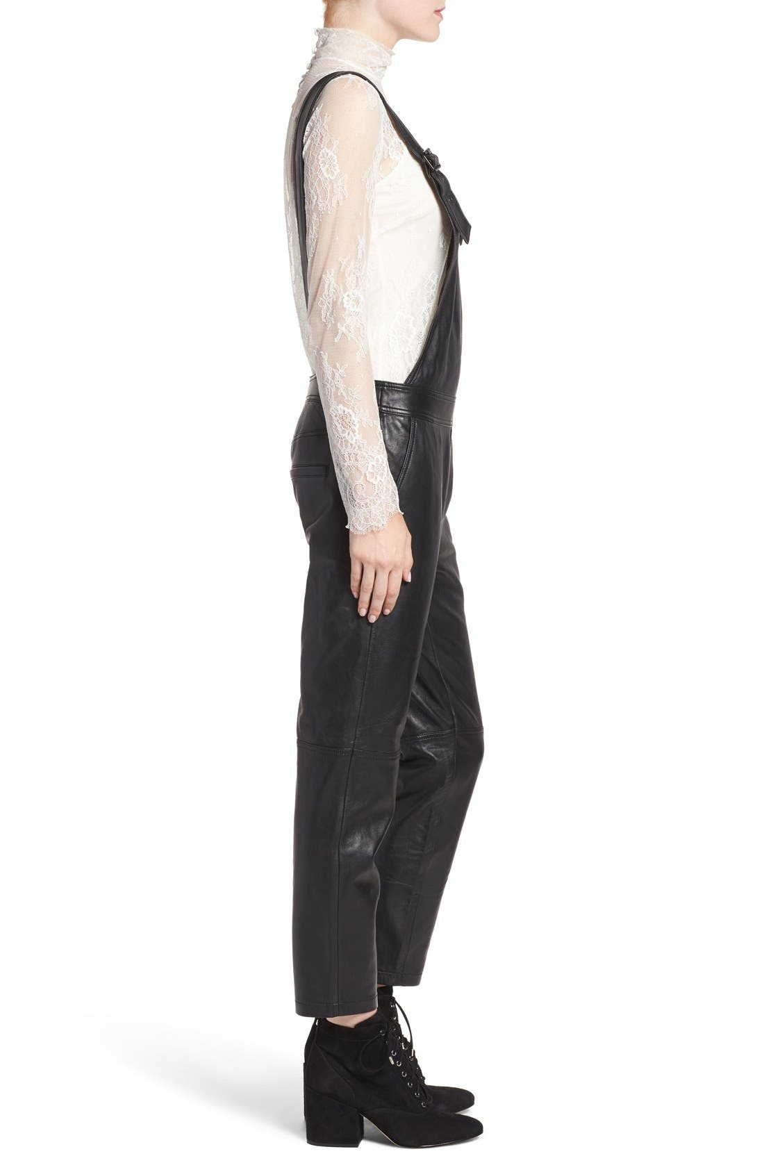 Alternate Image 4  - Olivia Palermo + Chelsea28 Leather Overalls