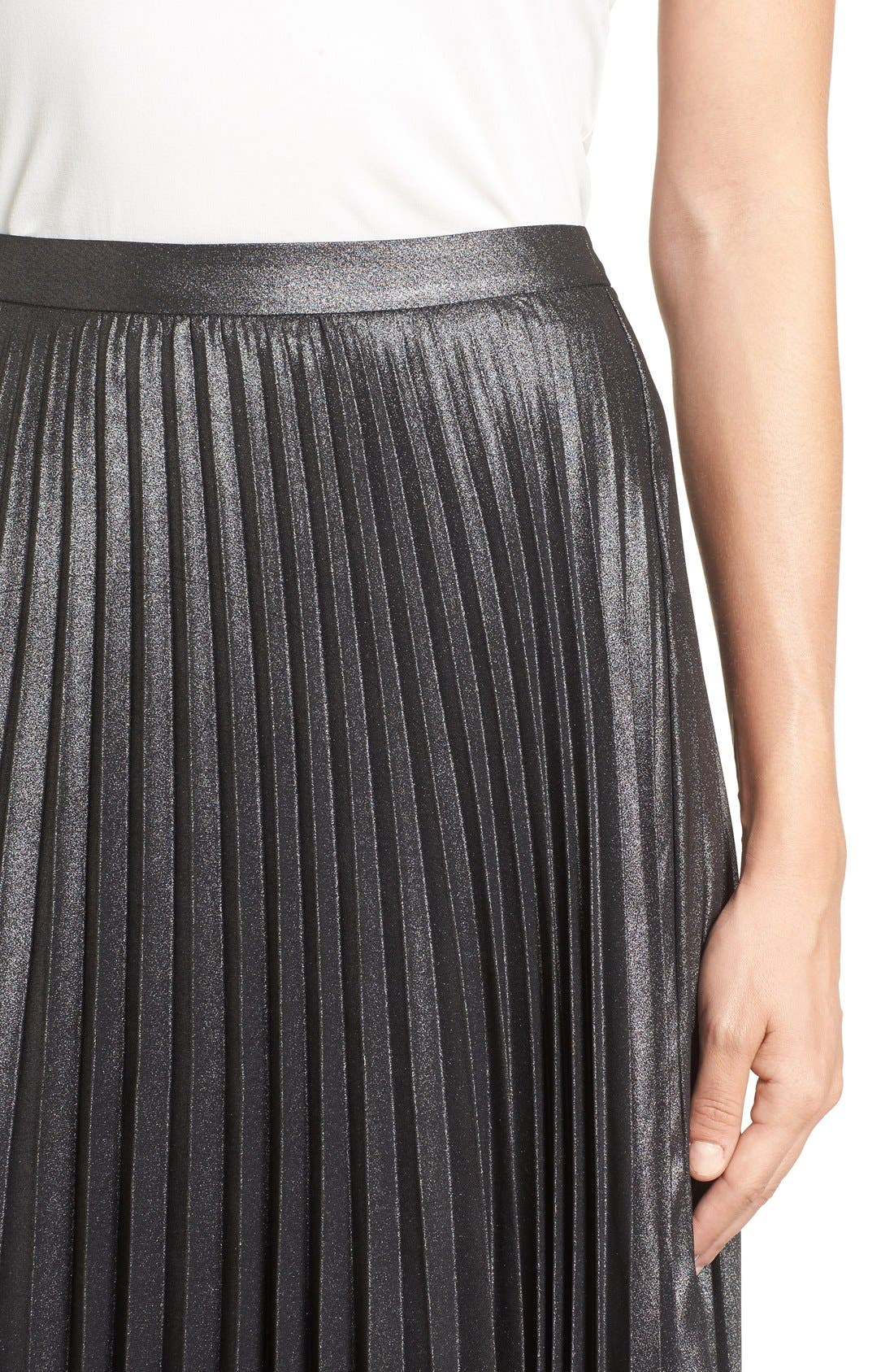 Alternate Image 4  - Halogen® Pleated Lurex® Midi Skirt (Regular & Petite)