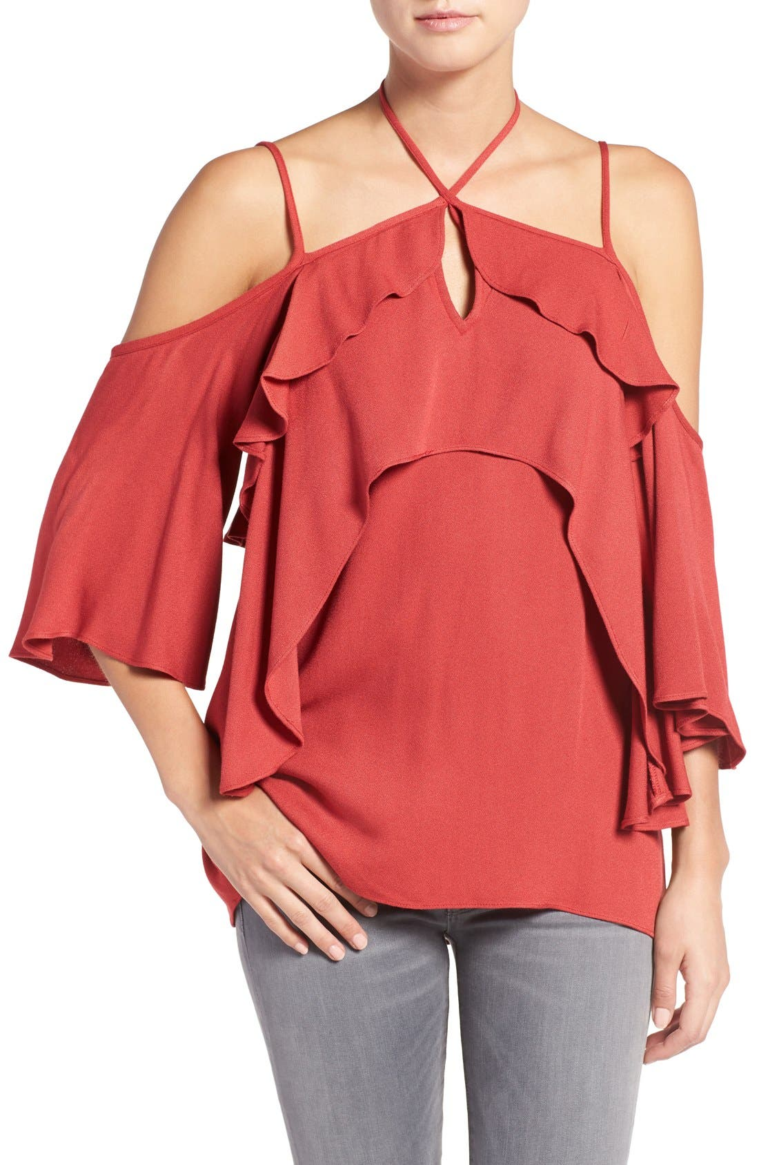 Alternate Image 1 Selected - Ella Moss 'Stella' Strappy Ruffle Cold Shoulder Top