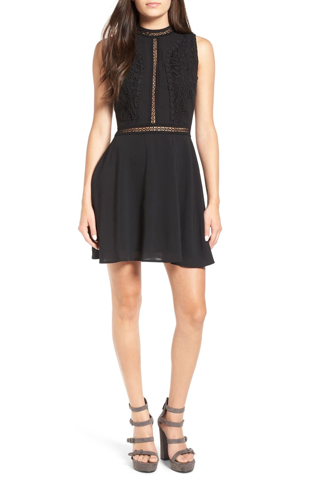 Main Image - Storee Crochet Lace Fit & Flare Dress
