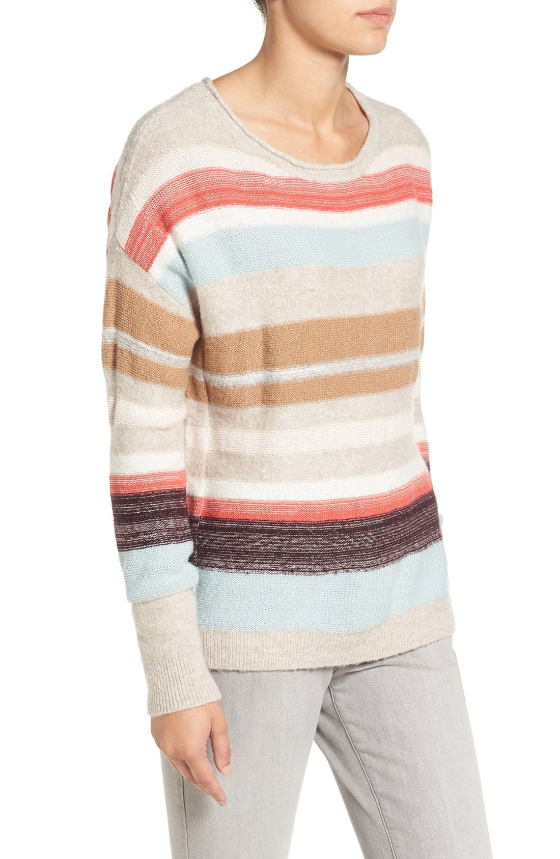 Alternate Image 3  - Caslon® Back Button Stripe Knit Sweater (Regular & Petite)