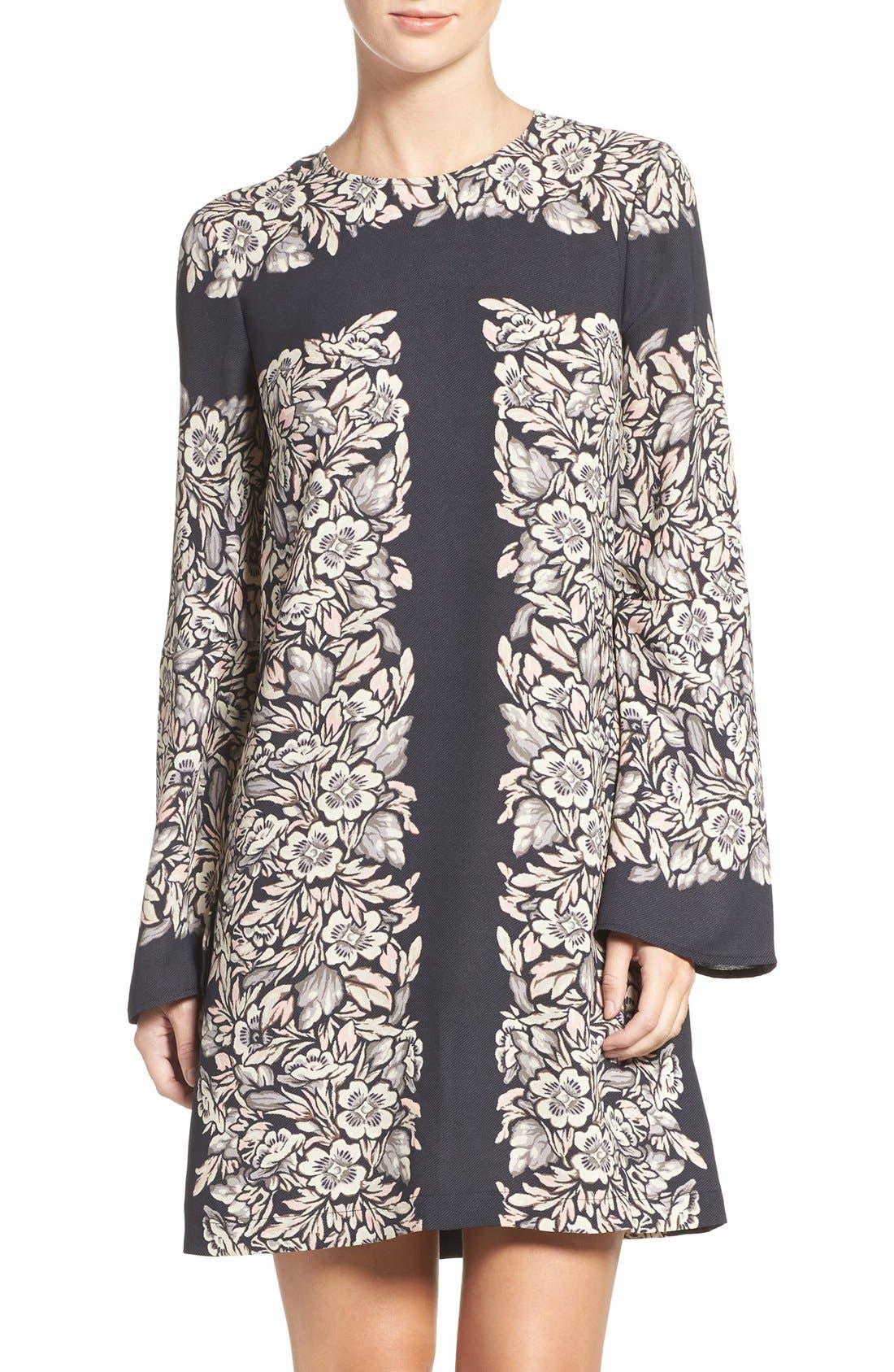 Alternate Image 1 Selected - BCBGMAXAZRIA 'Dulchey' Floral Crepe Trapeze Dress