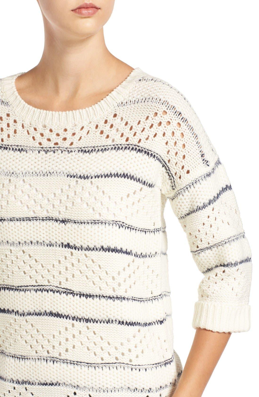 Alternate Image 4  - Elodie Stripe Pointelle Knit Sweater