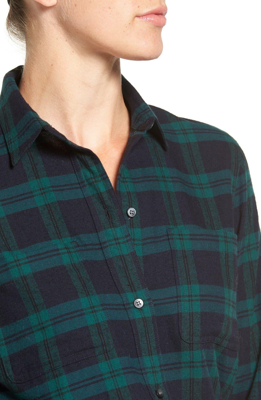 Alternate Image 5  - Madewell Ex Boyfriend - Dark Plaid Classic Shirt