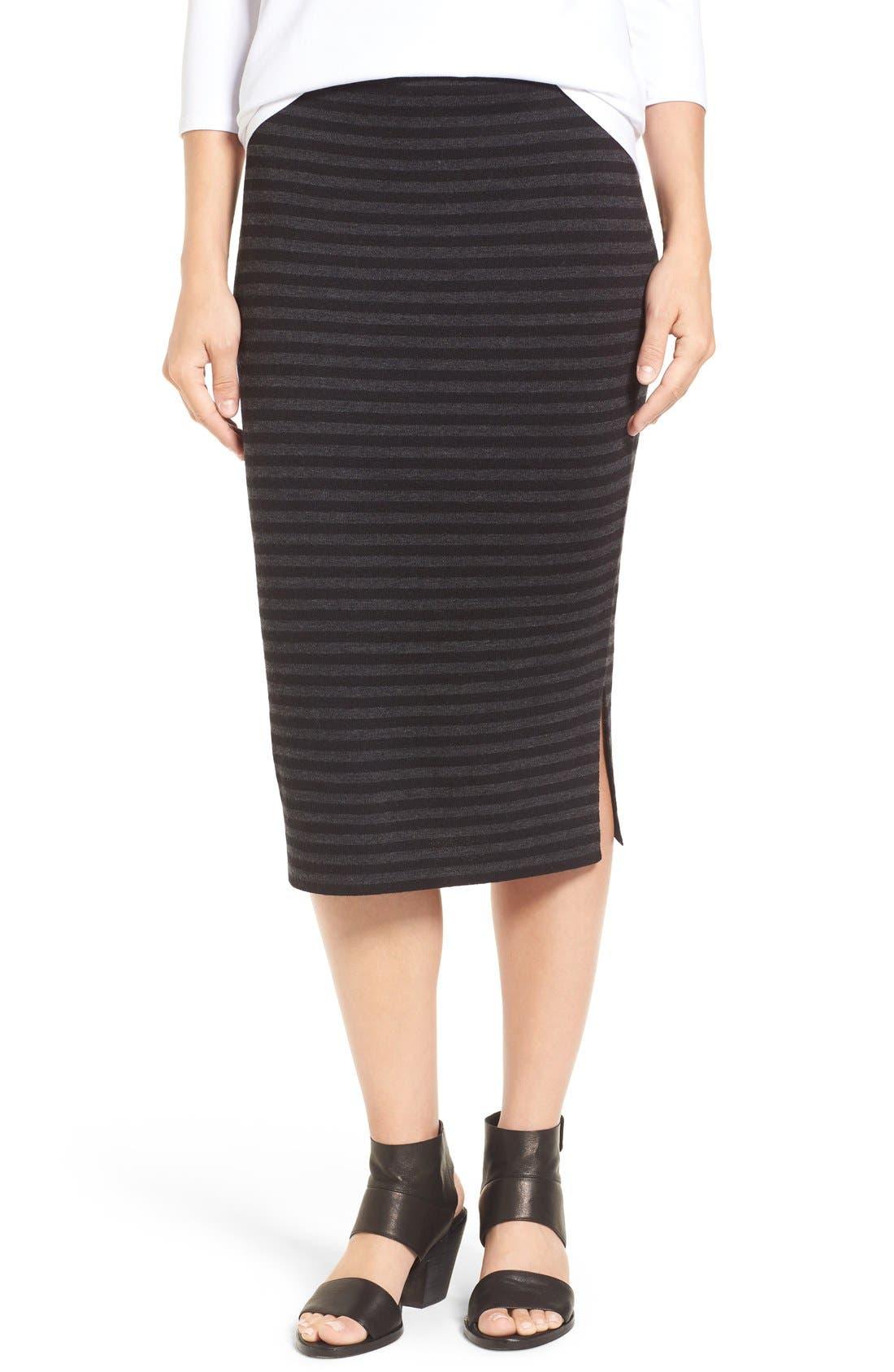 Main Image - Eileen Fisher Merino Wool Blend Double Knit Stripe Pencil Skirt (Regular & Petite)