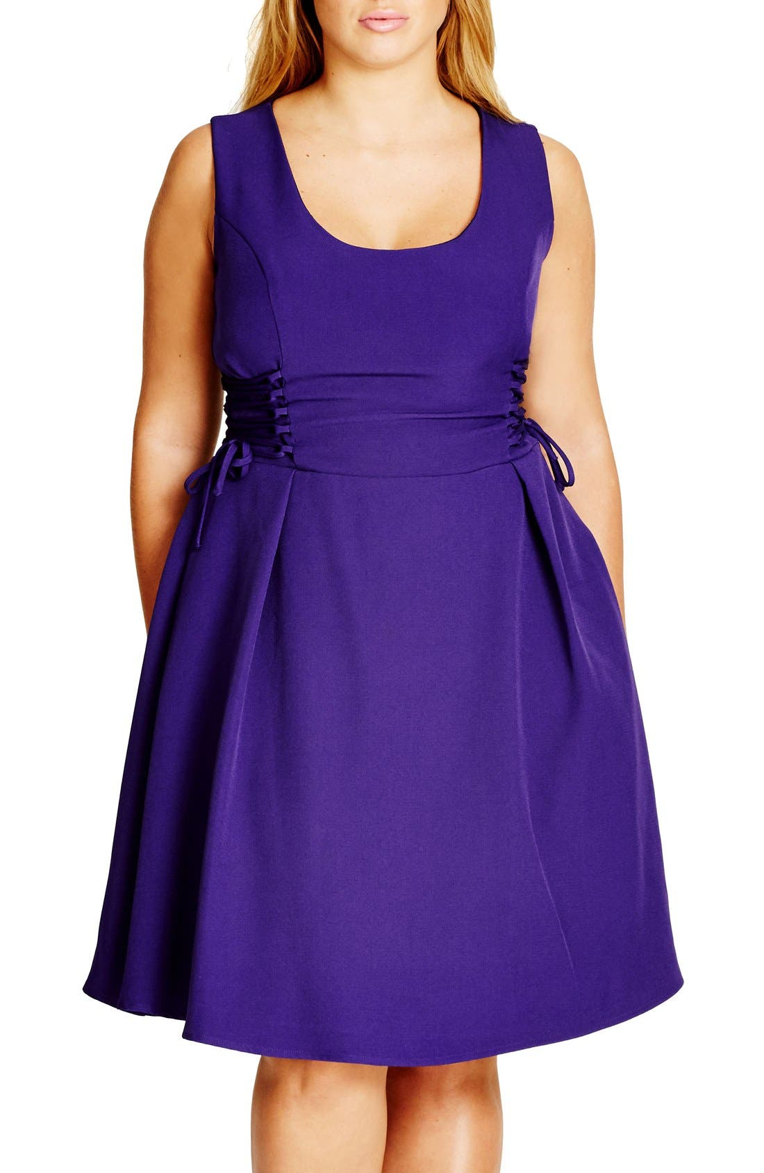 City Chic Corset Side Fit & Flare Dress (Plus Size)