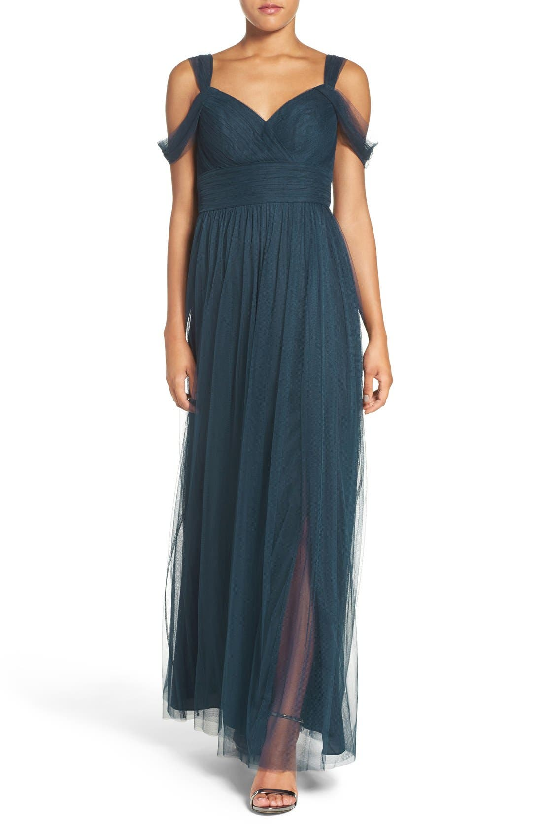 Main Image - Watters 'Gladiola' Off the Shoulder Tulle A-Line Gown