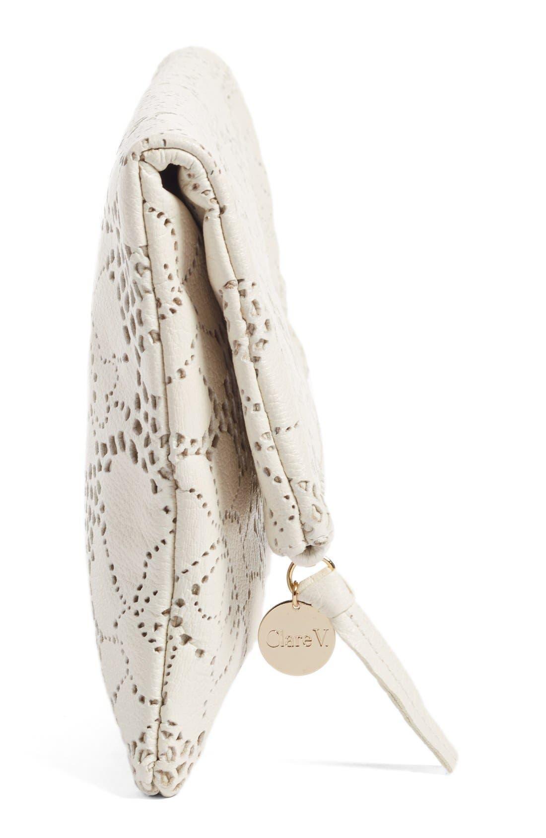 Alternate Image 5  - Clare V. Leather Lace Foldover Clutch