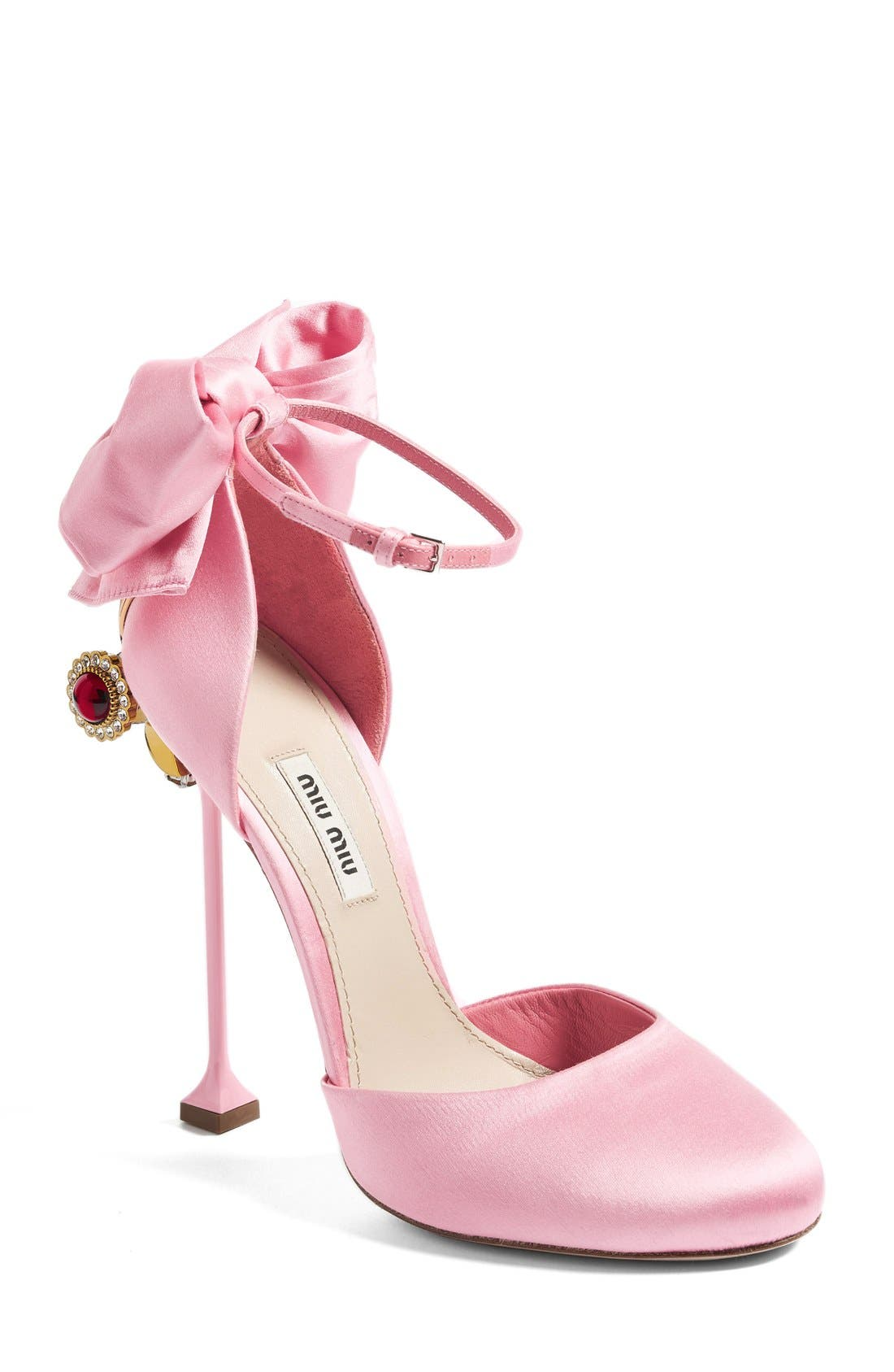 Alternate Image 1 Selected - Miu Miu Crystal Bow Tie Ankle Strap Pump (Women)