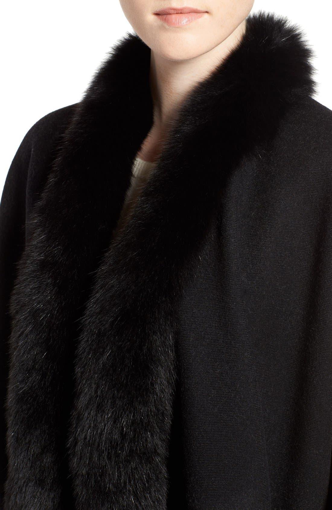 Alternate Image 4  - Burberry Merino Wool Cape with Genuine Fox Fur Trim