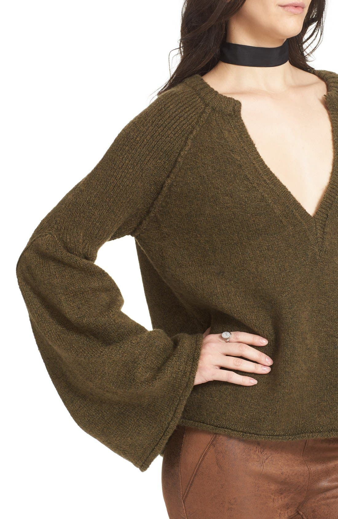 Alternate Image 5  - Free People Lovely Lines Bell Sleeve Sweater