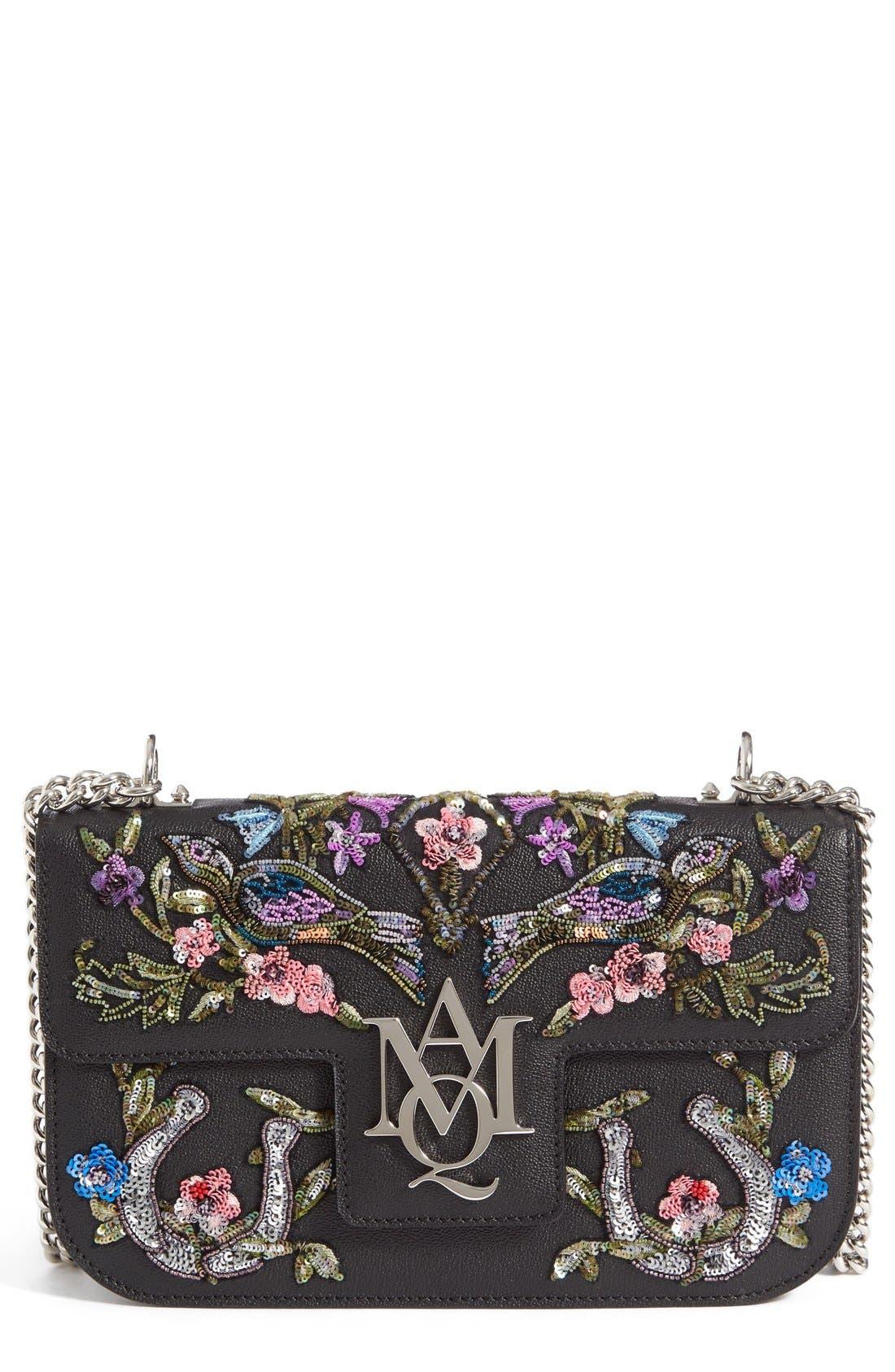 Main Image - Alexander McQueen Medium Insignia Calfskin Leather Shoulder Bag