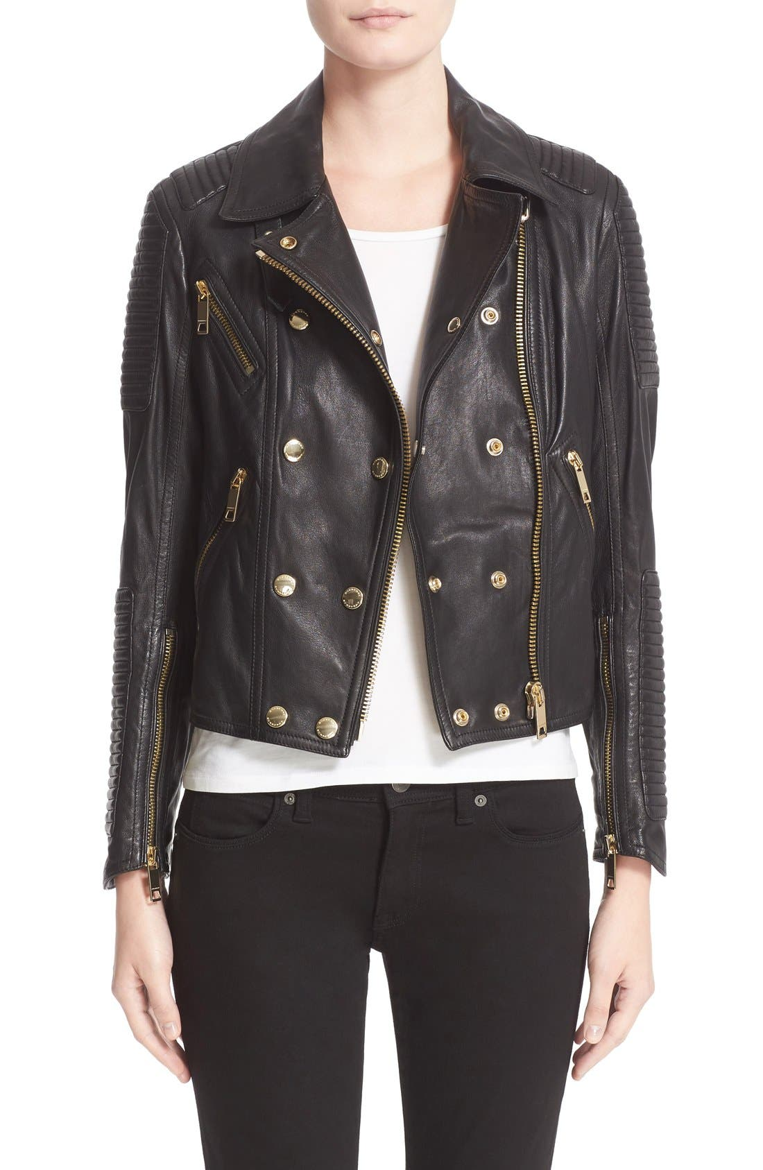 Alternate Image 1 Selected - Burberry Brit 'Colefield' Double Breasted Leather Jacket