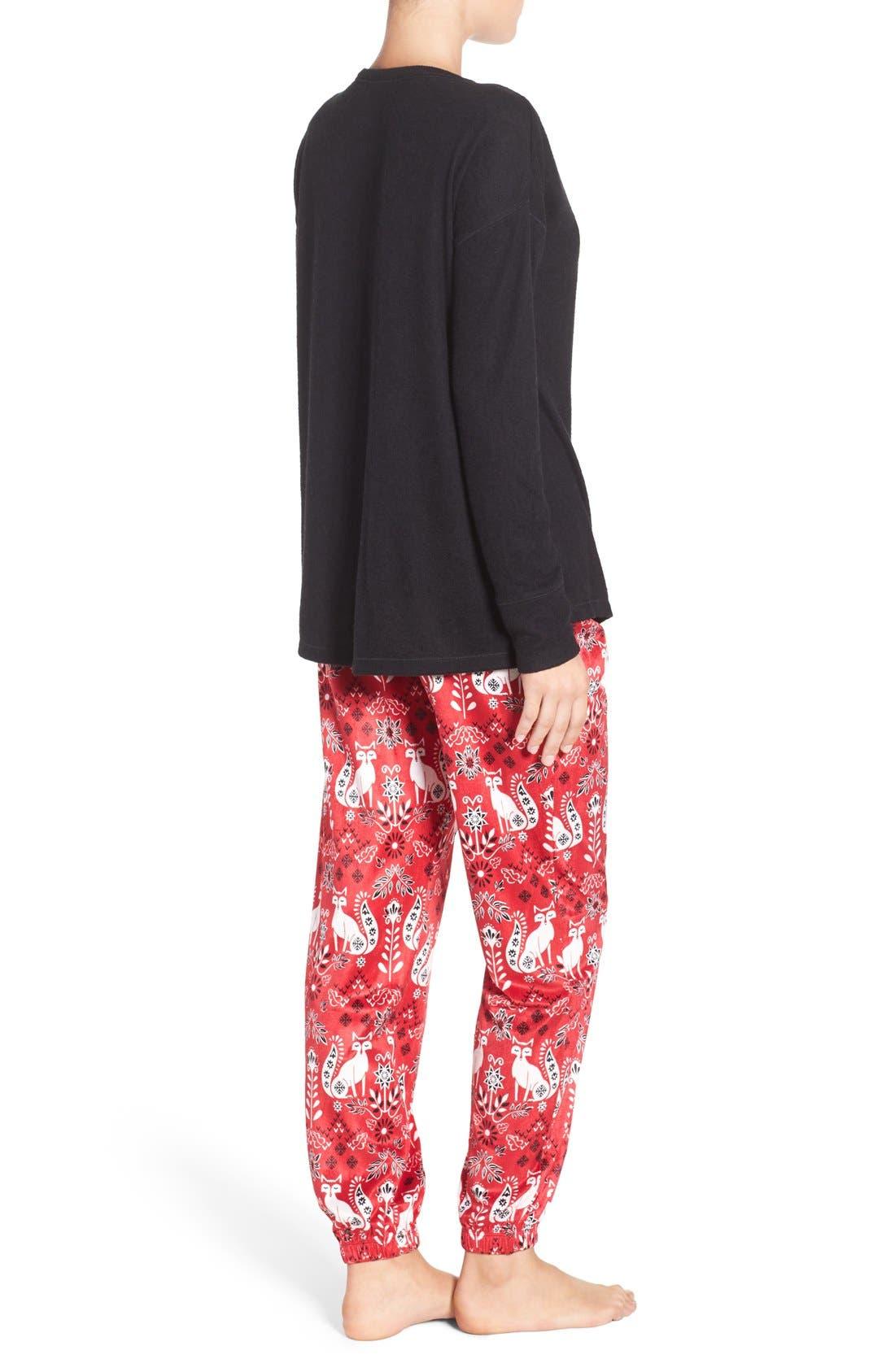 Alternate Image 2  - kensie Long Pajamas & Eye Mask