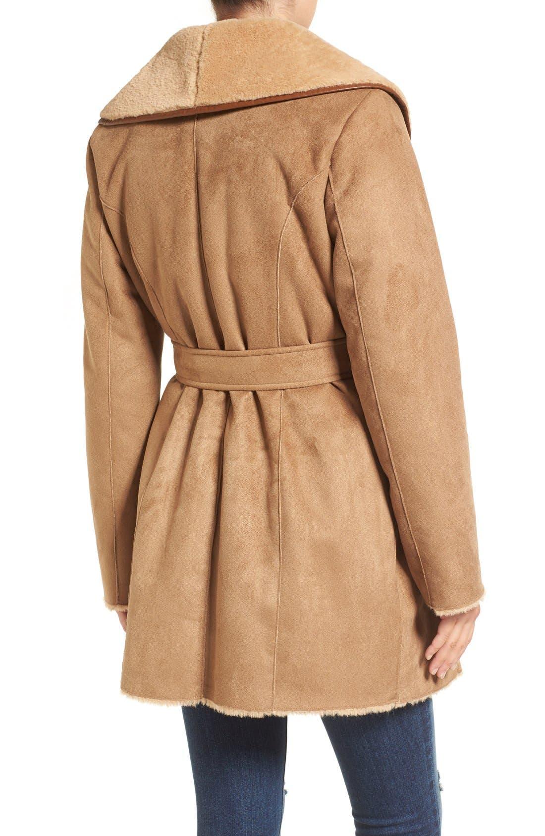 Alternate Image 2  - Ellen Tracy Faux Shearling Wrap Coat