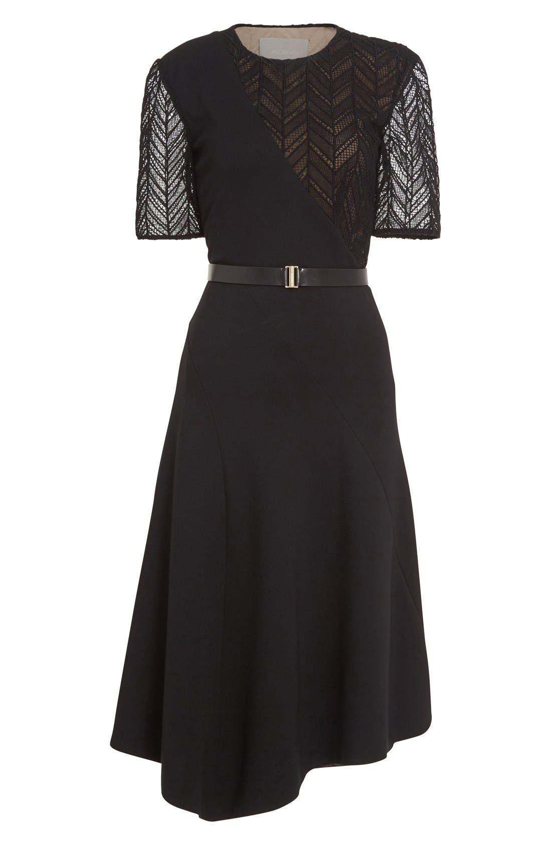 Alternate Image 4  - Jason Wu Chevron Lace & Ponte Knit Asymmetric Dress