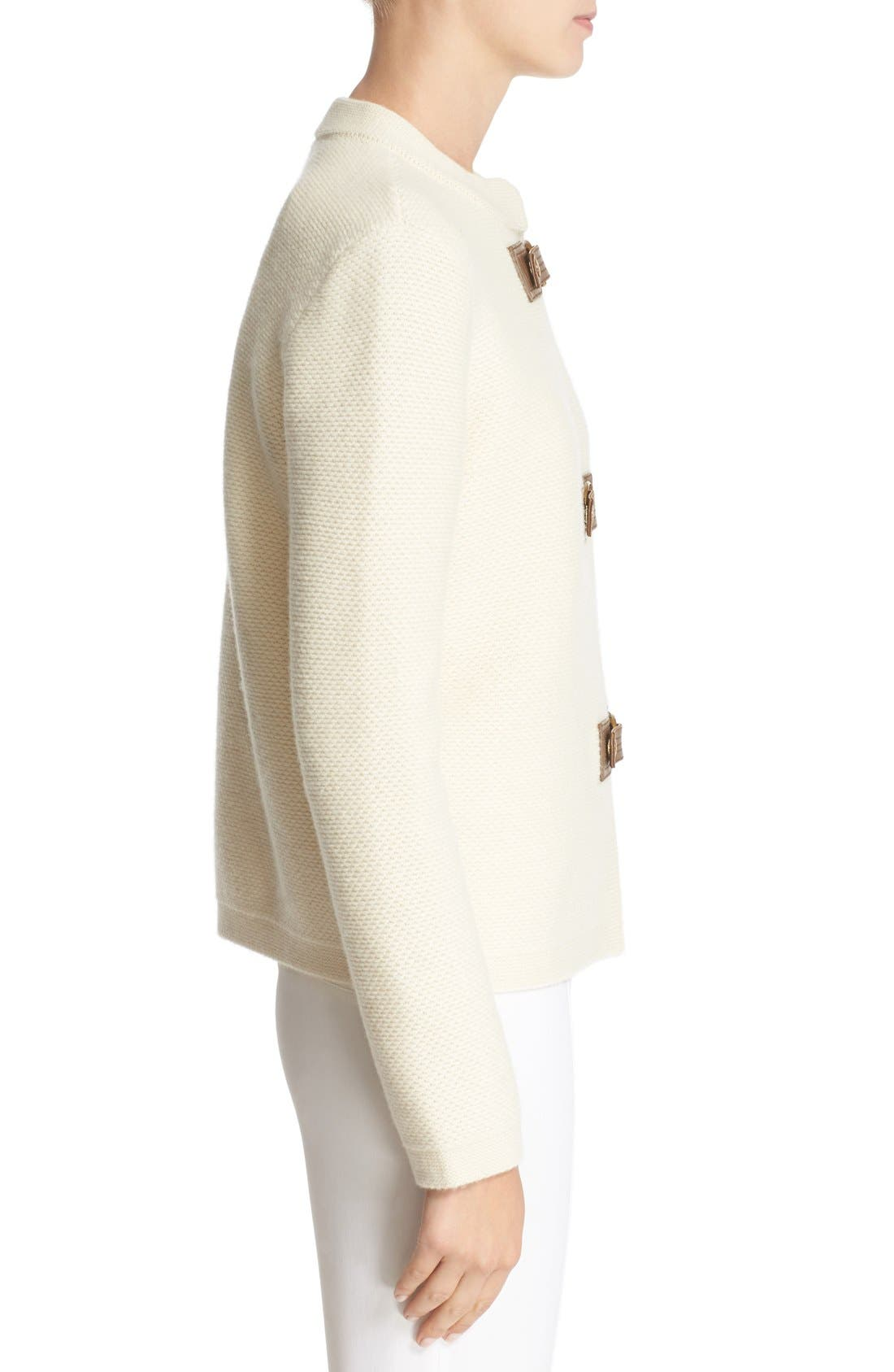 Alternate Image 3  - Tory Burch 'Ross' Leather Tab Merino Wool Cardigan
