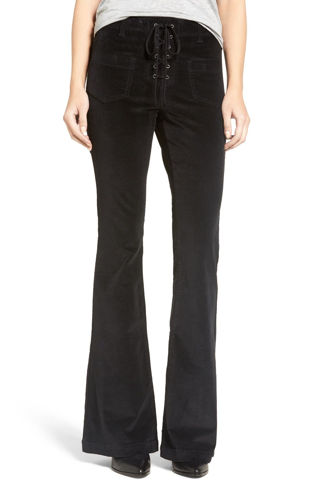Alternate Image 1 Selected - Sun & Shadow Lace-Up Flare Corduroy Pants