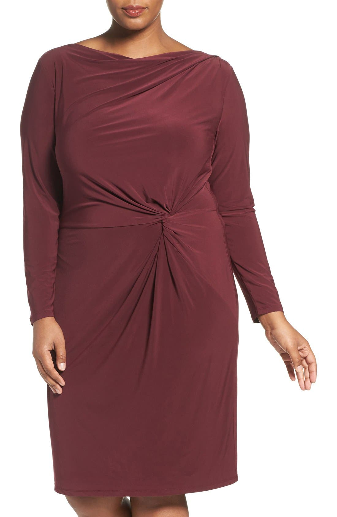 Adrianna Papell Knot Front Drape Jersey Dress (Plus Size)